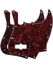 FLEOR 4Ply Jazz Bass Pickguard 10 Hole Scratch Plate for 4 Strings USA/Mexican Standard Jazz Bass Modern Style Standard, 2pcs Red & Brown Tortoise