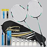 Badminton Racquet High-grade Badminton Racquet Carbon Fiber Badminton Racket Set Including Badminton Bag(GREEN)