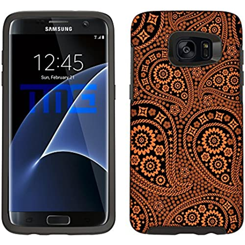 Skin Decal for Otterbox Symmetry Samsung Galaxy S7 Edge Case - Paisley Orange and Flowers on Black Sales