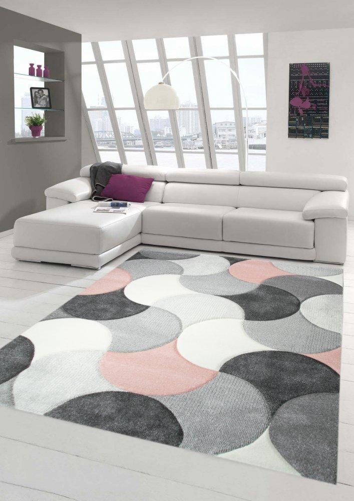 Designer und Moderner Teppich Kurzflor mit Tropfen Muster in Rosa Grau Beige Größe 160x230 cm