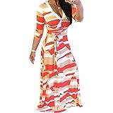 Locryz - Vestido largo con cuello en V para mujer, manga 3/4, estampado floral africano con cinturón S-3XL