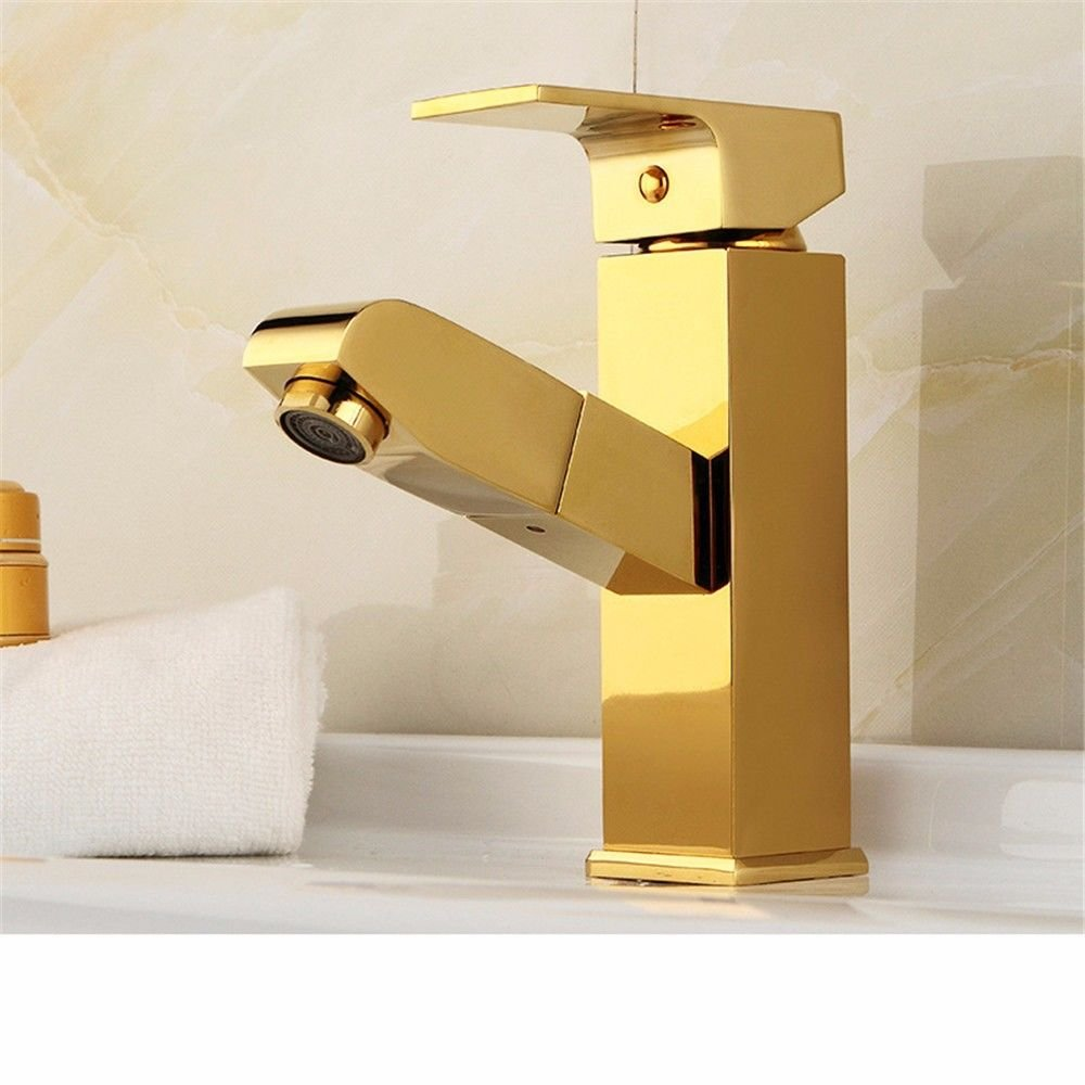 B Lpophy Bathroom Sink Mixer Taps Faucet Bath Waterfall Cold and Hot Water Tap for Washroom Bathroom and Kitchen gold-Plated Pull-Out Copper gold A