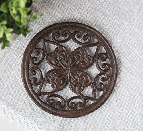 """Cast Iron Round Trivet with Vintage Pattern - Decorative Cast Iron Trivet For Rustic Kitchen Or Dining Table - 7 """" Diameter - With Rubber Pegs - Rustic Decor by Comfify"""