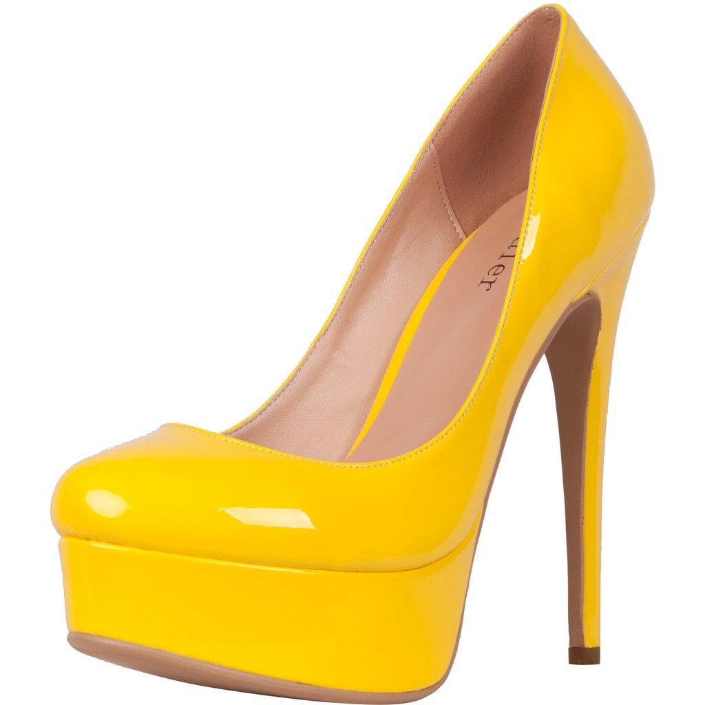 Calaier Mujer Cadress Señoras Talones Ocasional Moda Señora Tacón De Aguja 15CM Sintético Ponerse Zapatos de tacón 44.5 EU|Amarillo