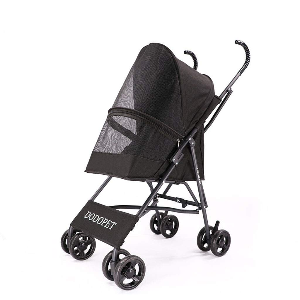 BLACK Light Weight Dog Stroller Medium, Small Dogs Cats Smart Design Folds Down to a Large Hand Bag Size Folding Puppy Kitten Carrier Perfect Pet Travel (color   Black)