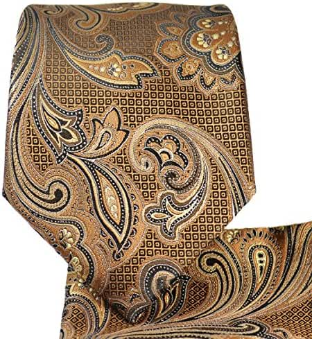 Brown Paisley Necktie and Pocket Square