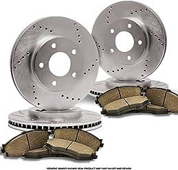 8 Semi-Metallic Pads Heavy Tough-Series 4 Black Coated Cross-Drilled Disc Brake Rotors Fits:- Dodge Ram Front+Rear Kit 8lug