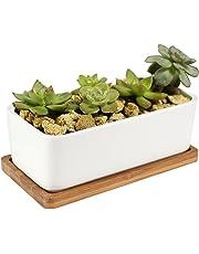 Macetas de cerámica Y&M(TM) para flores, blanca, rectangular, con base de bambú, blanco