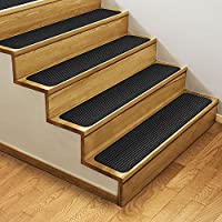 Set of 15 Skid-Resistant Double-Ribbed Carpet Stair Treads – Smokey Black – 8 In. X 23.5 In. – Several other Sizes to Choose From