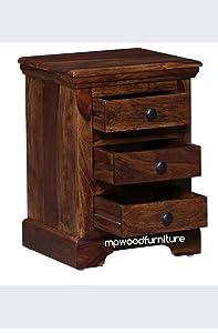 MP WOOD Furniture Solid Wood Sheesham Bedside Table