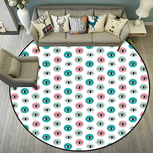 Round Floor mat for Baby Round Indoor Floor mat Entrance Circle Floor mat for Office Chair Wood Floor Circle Floor mat Office Round mat for Living Room Pattern 4'7