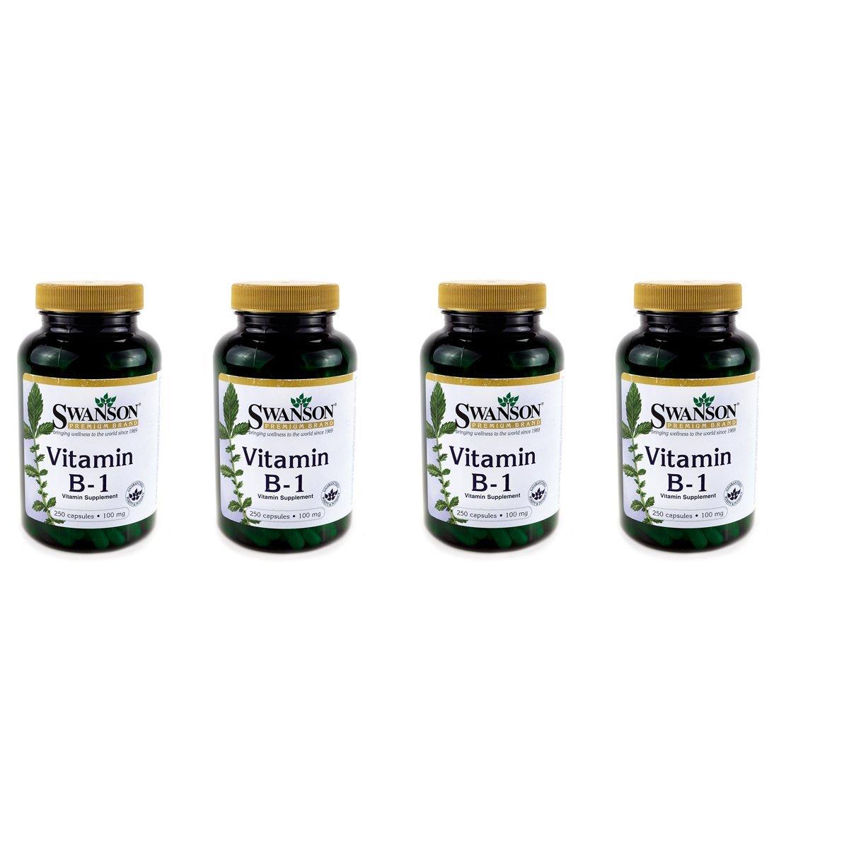 Swanson Vitamin B-1 (Thiamin) 100 Milligrams 250 Capsules 4 Pack