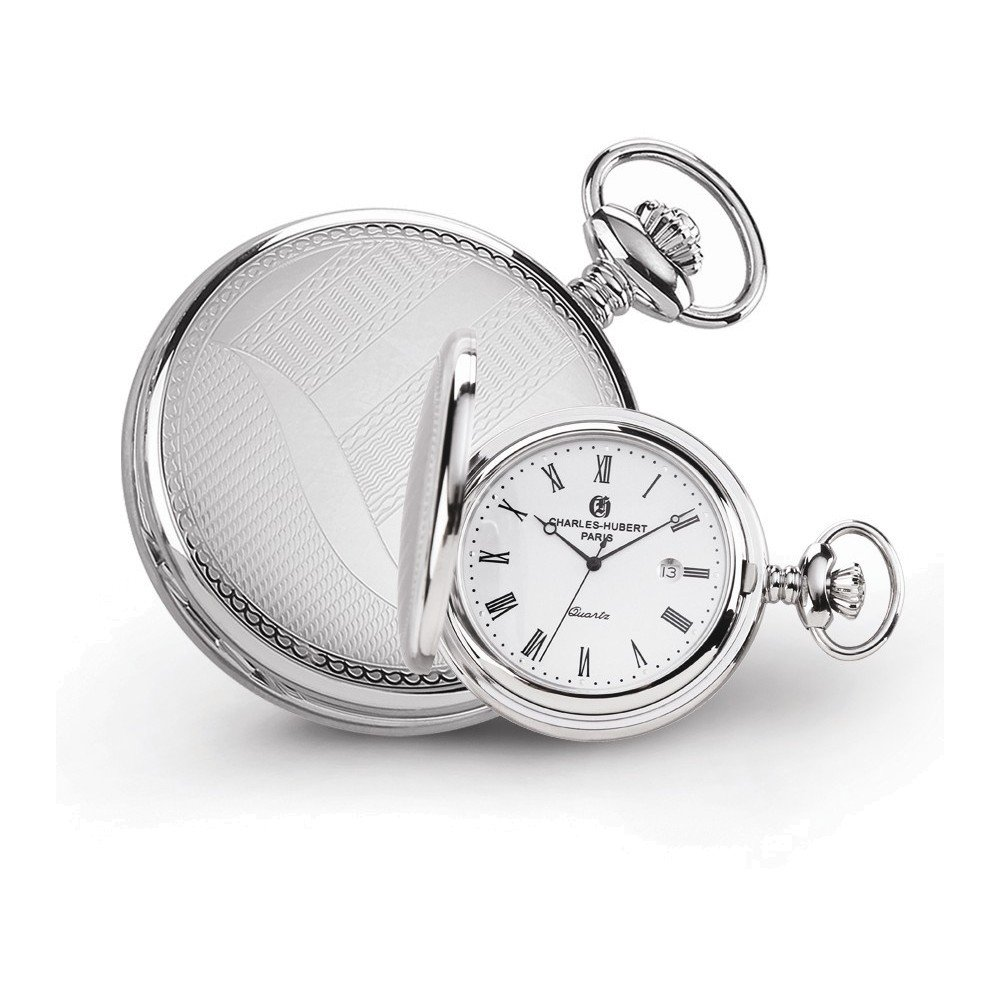 Charles Hubert Stainless Steel Wave Design Pocket Watch
