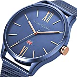 Men's Business Watch, MF Mini Focus Waterproof Slim Mesh Band Big Dial Analog Quartz Wristwatch with Luminous Hands(Blue)