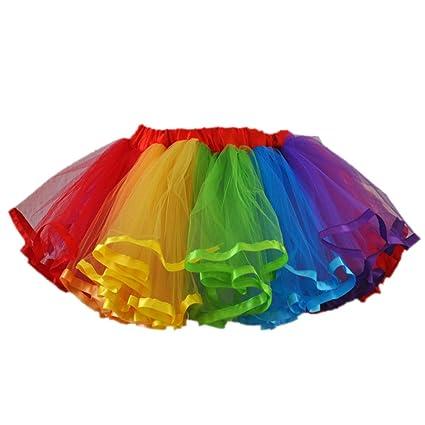 ccade18f2 Amazon.com: Girls 4-Layer Rainbow Tutu Dance Skirt (Multicolor, Large):  Toys & Games