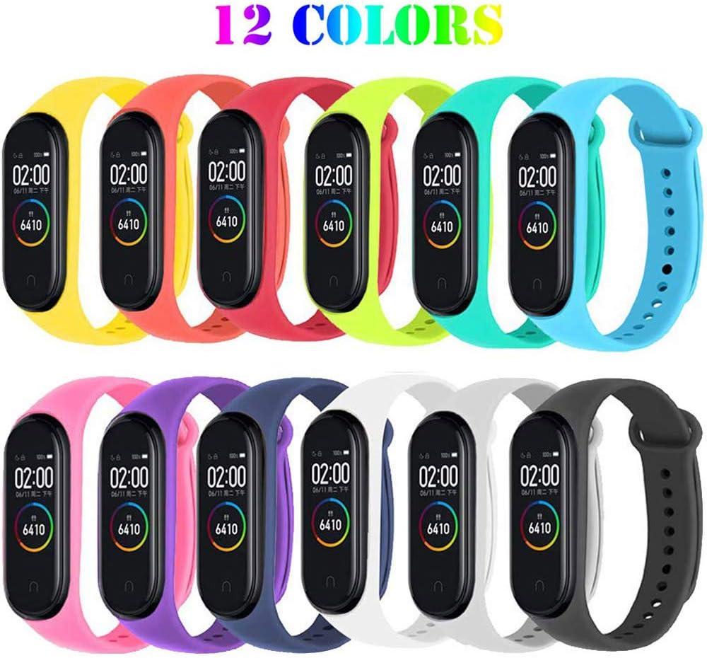 Ventdest Correas para Xiaomi Mi Smart Band 4 / Mi Band 3, (12 PCS) Pulseras Reloj Silicona Banda para Xiaomi Mi Band 3 / Mi Smart Band 4 Reemplazo - 12 Colores