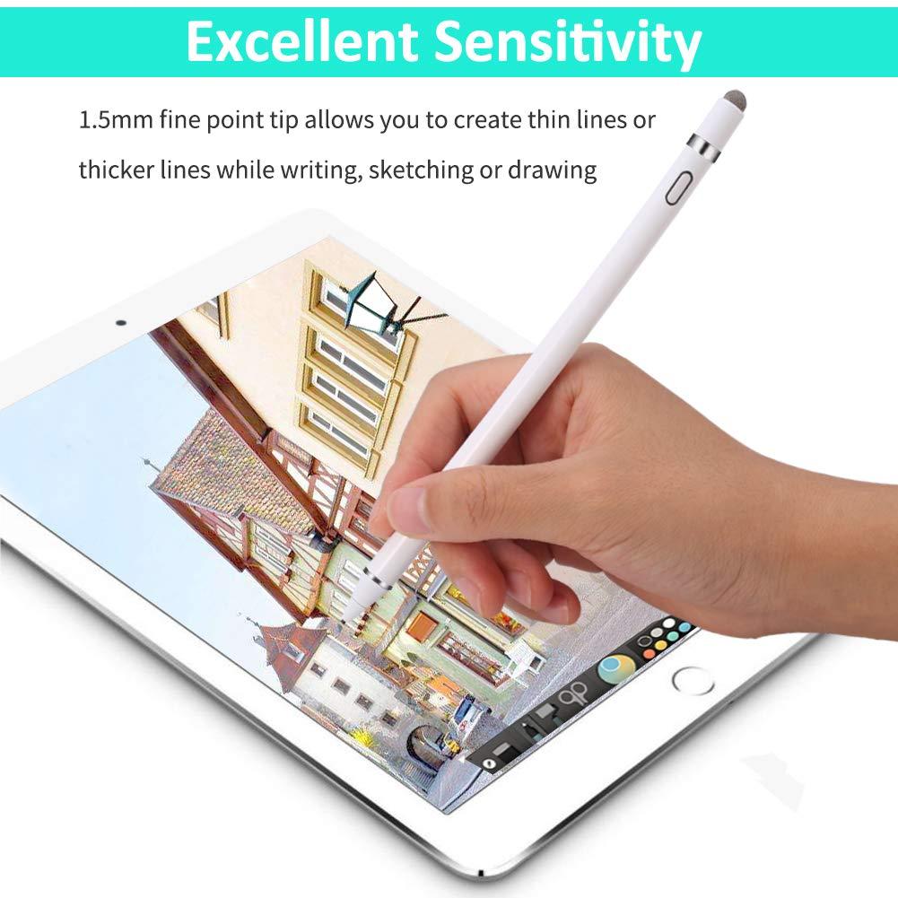 MPIO Lápiz Táctil para Apple iPad Capacitivo Activo Lapiz Stylus con Alta-Precisión 1,5mm Punta Fina, Recargable Universal para iPad Pro, Air, Mini, ...