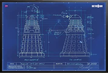 Amazon doctor who tv show poster dalek blueprint 36x24 doctor who tv show poster dalek blueprint 36x24 wood framed poster art print malvernweather Gallery