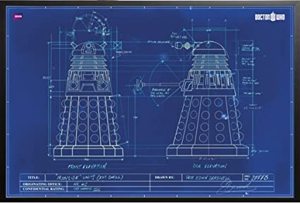 Amazon doctor who tv show poster dalek blueprint 36x24 wood doctor who tv show poster dalek blueprint 36x24 wood framed poster art print malvernweather Gallery