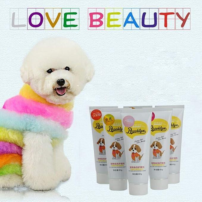 Fuwahahah - Tinte en gel para perros, 80 g, natural y saludable, no tóxico, sabor a fruta, cuidado nutricional del pelo, colores brillantes, ...