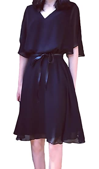 BoBoLily Vestidos Verano Mujer Tallas Grandes Elegante Chiffon Manga Corta V Cuello Vestido Fiestas Color Sólido Jovenes Fashionista Diario Casuales Medium ...