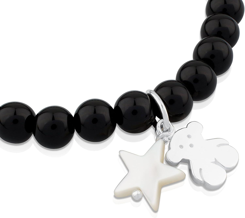 oso y estrella TOUS Pulsera el/ástica de mujer en plata de primera ley con /ónix de 0,6 cm