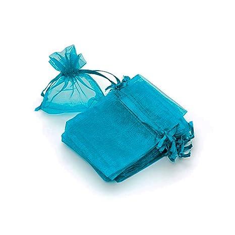 RUBY - 50 Piezas Bolsas de Organza para Fiesta de Boda / 7cm x 9cm / Saquitos/Bolsitas Regalo Joyeria Envio Desde ESPAÑA (Azul Celeste)