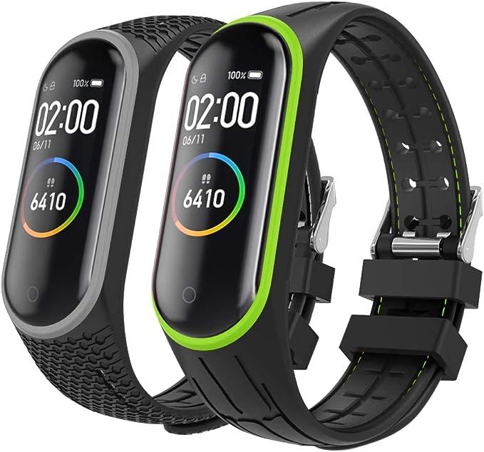 MoKo 2-Pack Reloj Correa para Xiaomi Mi Band 3/Mi Band 4, Pulsera de Silicona, Correa de Reloj Deportivo, Banda de Reloj de Silicona: Amazon.es: Electrónica