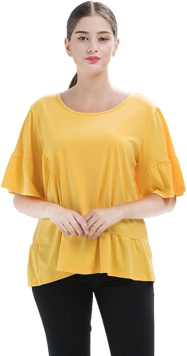 HGDR Mujeres Camiseta De Manga Corta Amarilla Floja De Algodón ...