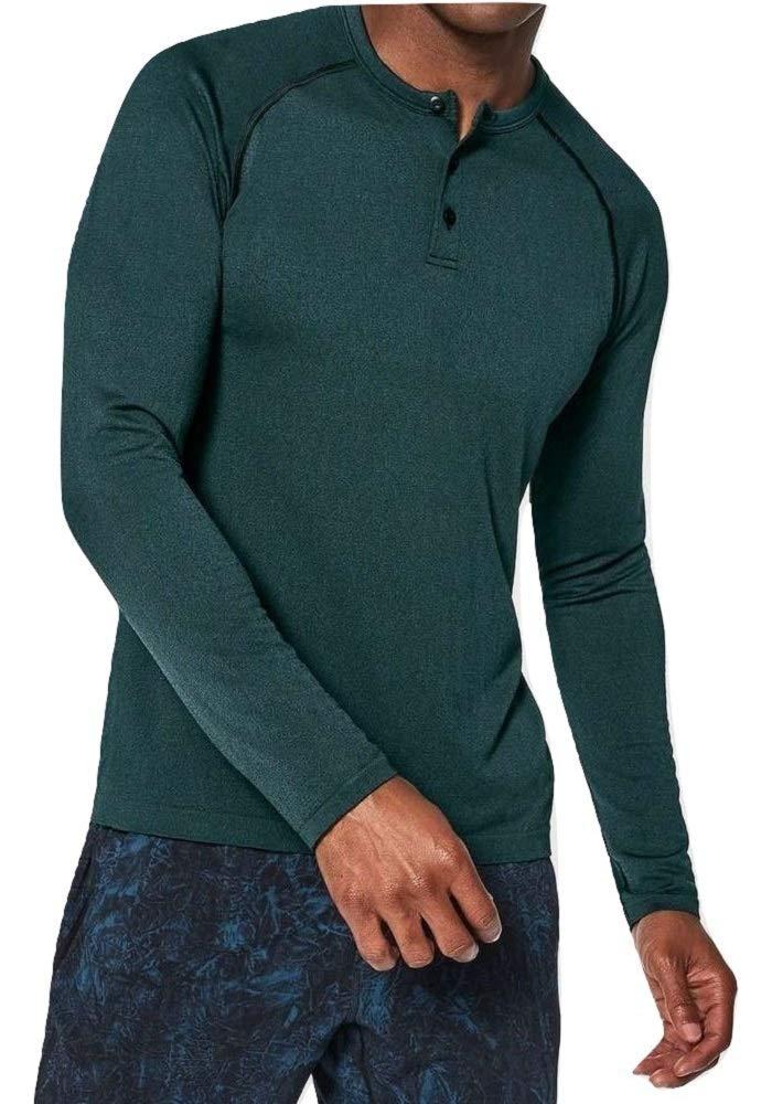 Lululemon Mens Metal Vent Tech Henley Long Sleeve Shirt (Black/Mariner, S)