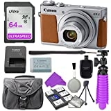 Canon PowerShot G9 X Mark II Digital Camera (Silver) with 64GB SD Memory Card + Accessory Bundle