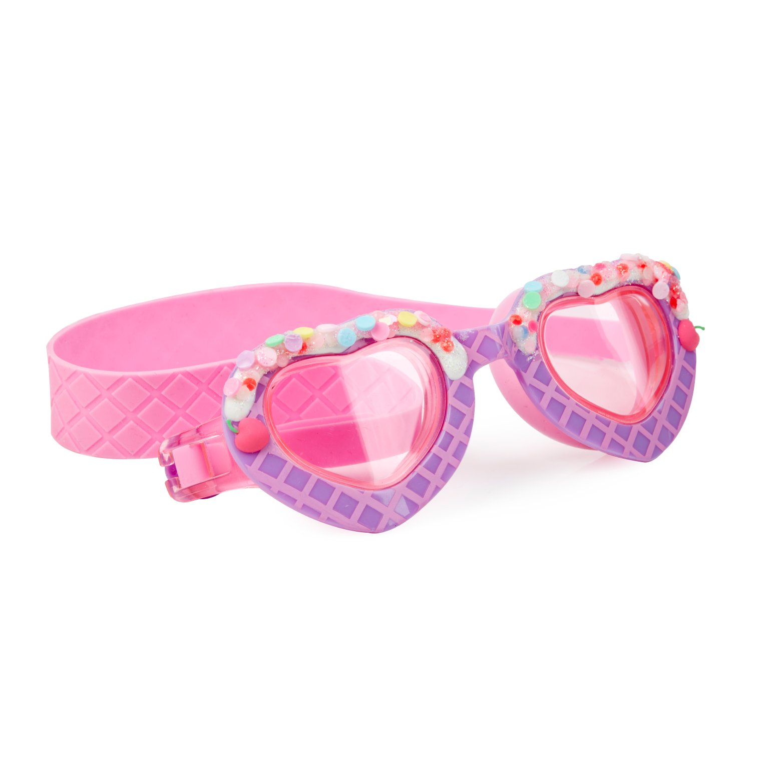 Heart Shaped Swimming Goggles For Kids by Bling2O - Anti Fog, No Leak, Non Slip and UV Protection - Whipped Blueberry Fun Water Accessory Includes Hard Case