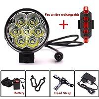 YEHOLDING Eclairage LED Velo,9000 Lumens 7X CREE XM-L T6 LED 3 Modes Bicyclette de Vélo Lampe Extérieure Devant la Lumière Eclairage Vélo Puissant+Phare arrière