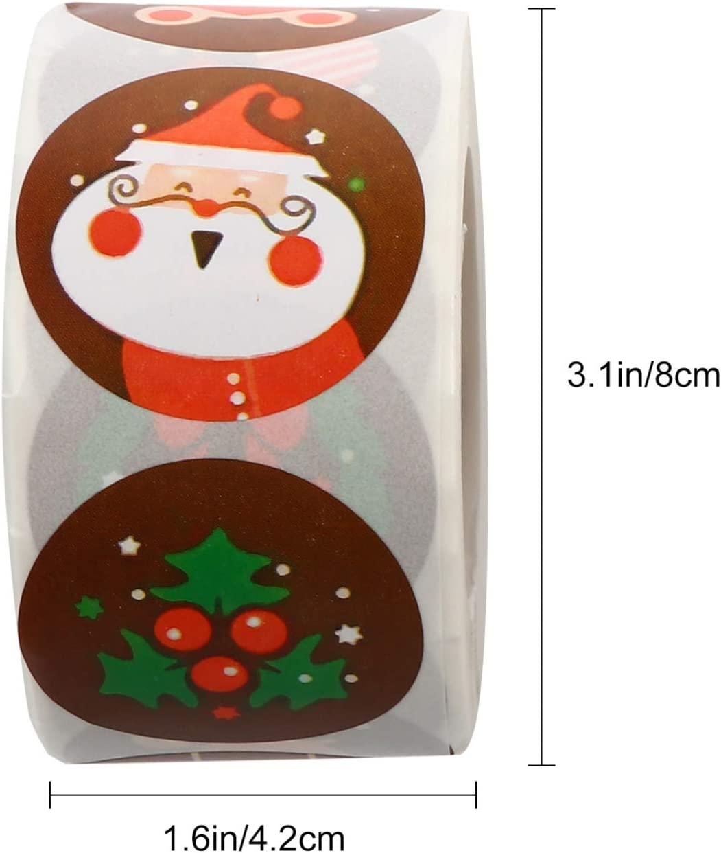 2 Rouleaux Tomaibaby Autocollants D/étiquette de No/ël Autocollants de Cadeau /Étiquettes de No/ël Auto-Adh/ésives pour Sacs de Calendrier de Lavent//Sacs-Cadeaux de No/ël
