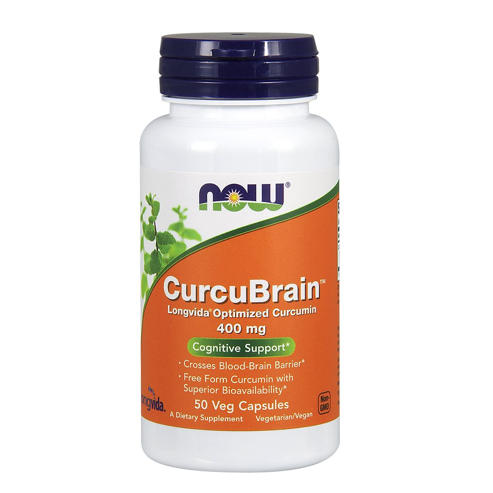 NOW CurcuBrain 400 mg,50 Veg Capsules