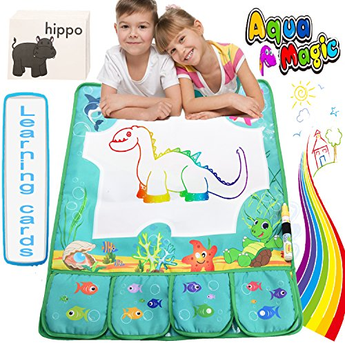 Aqua Magic Mat, Water Doodle Mat with FREE 46 Flash Learning Card Playmat 6 Colors Drawing Pad Kids Home Educational Painting Board Developing Learning Toys Birthday Gift for Toddlers Boys (Letter Home To Parents For Halloween Party)
