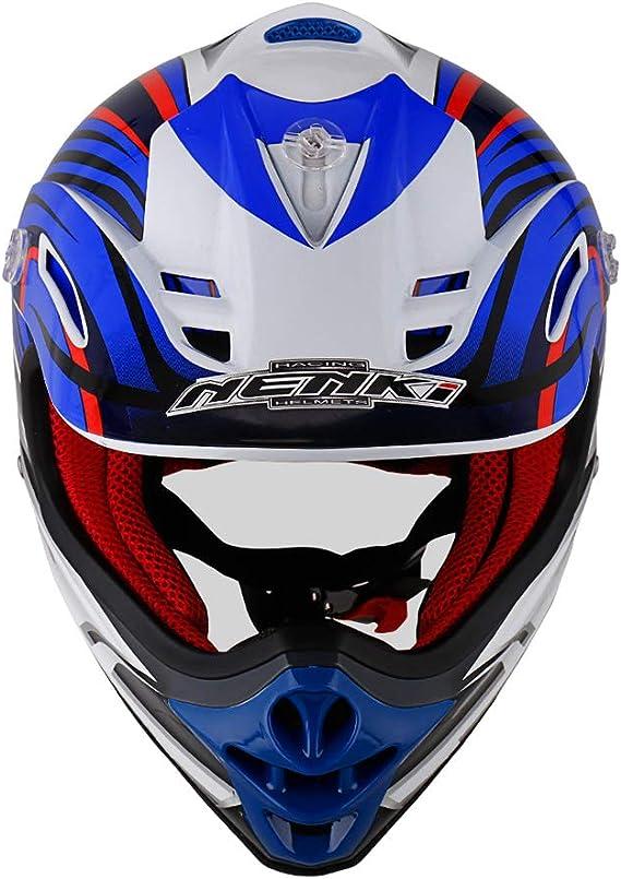 XXS 51-52CM,Black Blue NENKI Kids Quad Helmet NK-303,Motocross ATV Dirtbike Offroad Go Karting Motorbike Helmet,ECE Approval
