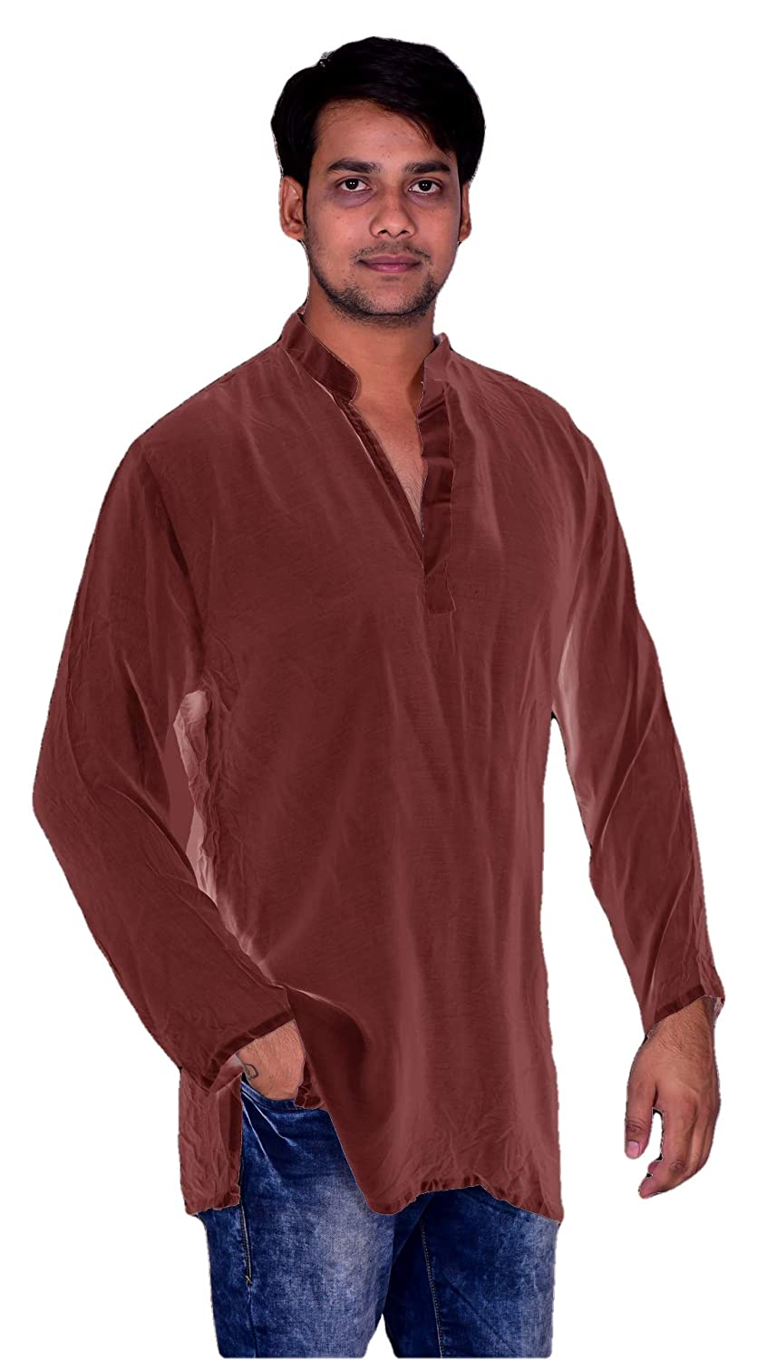 Lakkar Haveli Mens Indian Tunic Button Down Shirts Shirt Kurta Solid Brown Color 100/% Cotton Big Tall