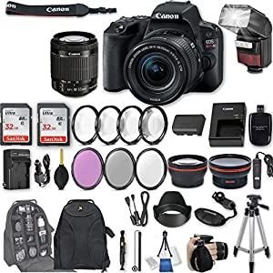 "Canon EOS Rebel SL2 DSLR Camera with EF-S 18-55mm f/4-5.6 IS STM Lens + 2Pcs 32GB Sandisk SD Memory + Automatic Flash + Filter & Macro Kits + Backpack + 50"" Tripod + More"