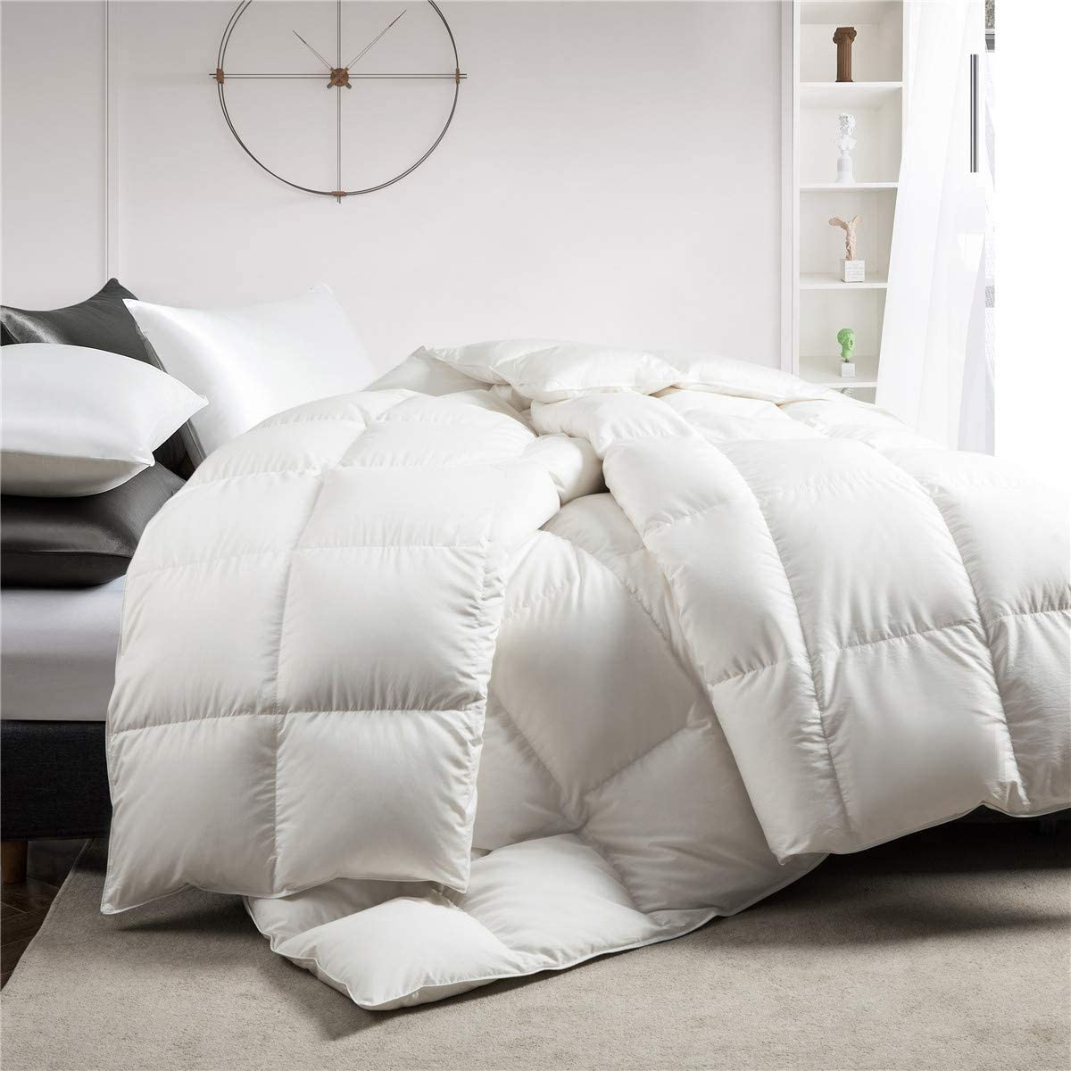 Puredown White Down Comforter Year Round Use 100 Cotton 600 Fill Power Medium Warmth Duvet Insert Twin Size White Home Kitchen