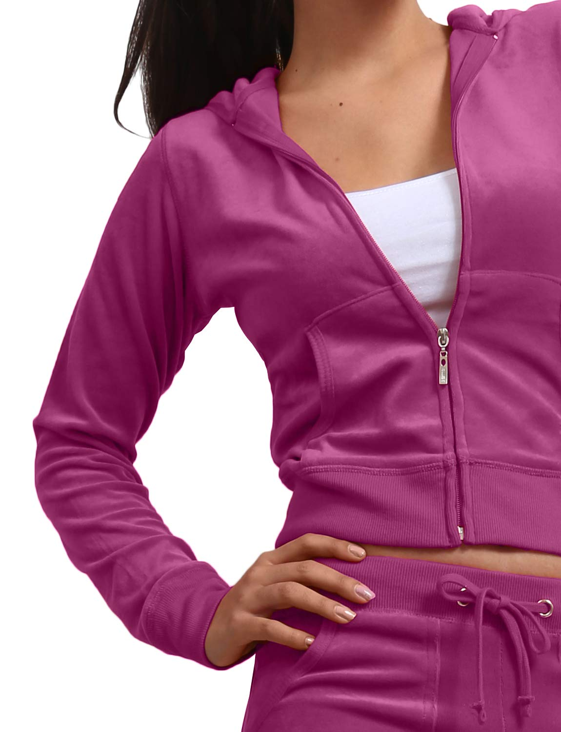 J. LOVNY Women's Active Casaul Velour Hoodie and Sweatpants Tracksuit Set by J. LOVNY