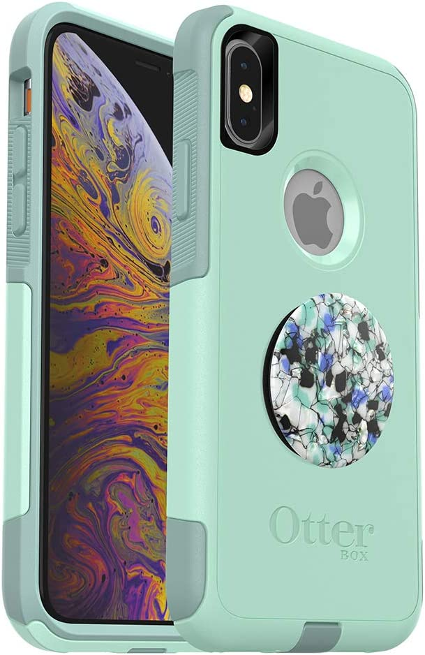 Bundle: OtterBox Commuter Series Case for iPhone Xs & iPhone X (Ocean Way) + PopSockets PopGrip - (Serpentine Granite)
