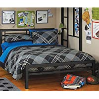 Full or Twin Bed Black or Silver Metal Frame Kids Bedroom Dorm Under Loft Beds (Black, Full)