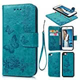 Cheap iPhone 7 Case, iPhone 8 Wallet Case PU Leather Oil Wax Embossed Butterfly Magnetic Closure Flip Cover Detachable Wallet Card Holder Currency Slot for iPhone 7 & 8