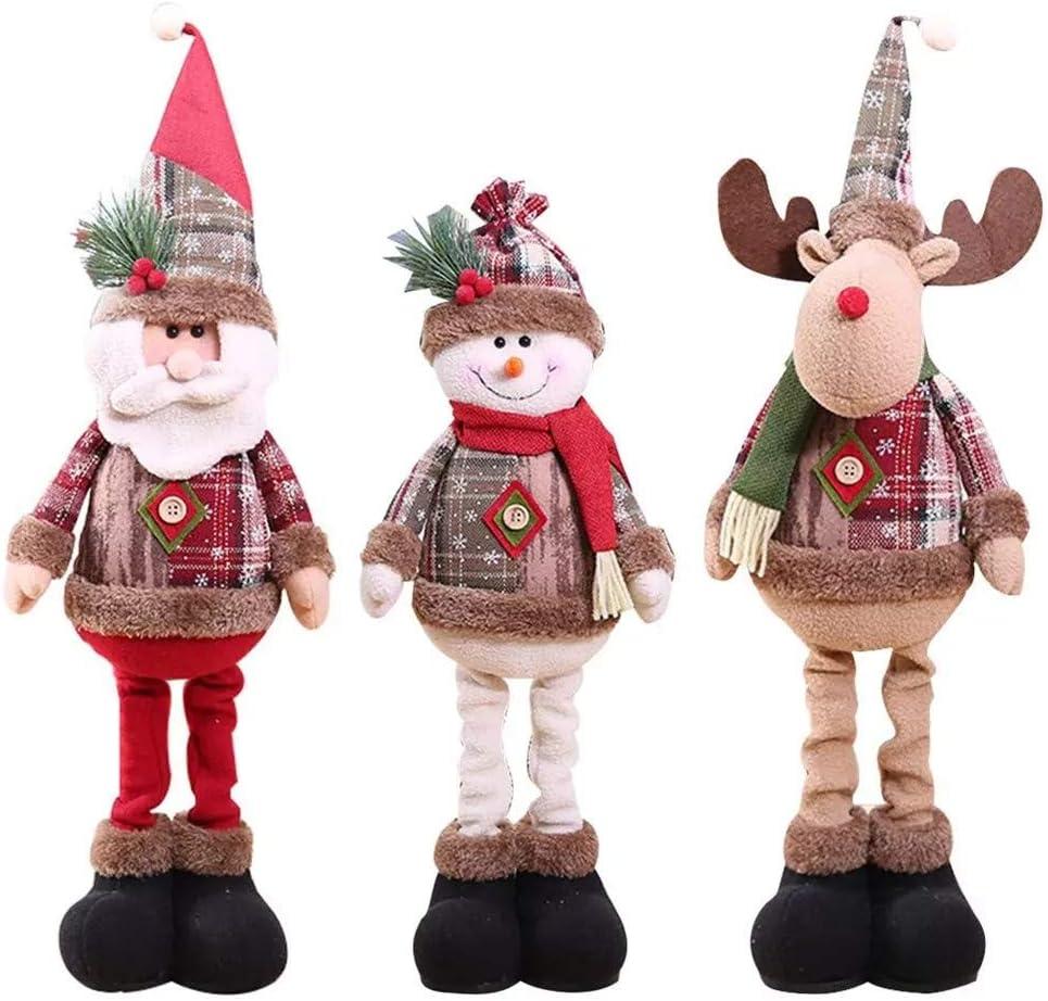 Ultranic 3pcs Muñecos Navideños Extensibles, Decoracion de Navidad Hogar Papá Noel Reno Muñeco de Nieve Adornos Navideños Originales Decoración de Escaparate Tienda Suministros de Navidad