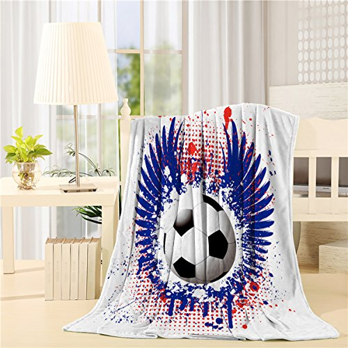 SUN-Shine Super Soft Lightweight Throw Blankets Cozy Warm Microfiber Blanket for Bed Couch Chair Camping Travel All Seasons Daily Use Living Room Bedroom,World Cup Soccer Games Soccer Ball by SUN-Shine