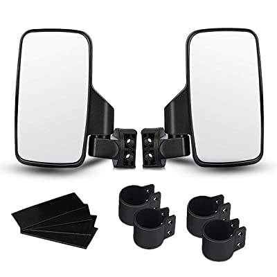 """UTV Side View Mirrors for 1.75"""" and 2"""" Roll Bar Cage(2 Pack), Adjustable Wide Rear Clear View Mule Mirrors for Polaris RZR, Can-Am, Kawasaki, Kubota, Yamaha, Maver: Automotive"""