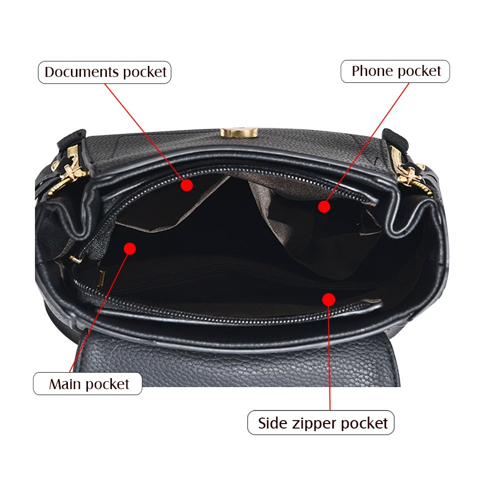 SCENTW Fashion Women Crossbody Backpack Purse Small Pu Leather Shoulder Bag Ladies Cute Chain Satchel Bag (Balck) by SCENTW (Image #4)