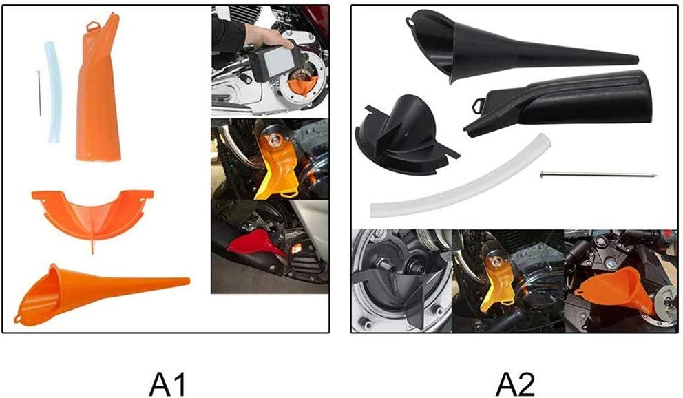 Reemplazo Cambio Aceite Naranja para Cubierta Protectora La Motocicleta C/áRter Llenado Aceite Conjunto Motocicleta Harley QYHSS Kit Embudo Filtro Aceite Sin Goteo Embudo