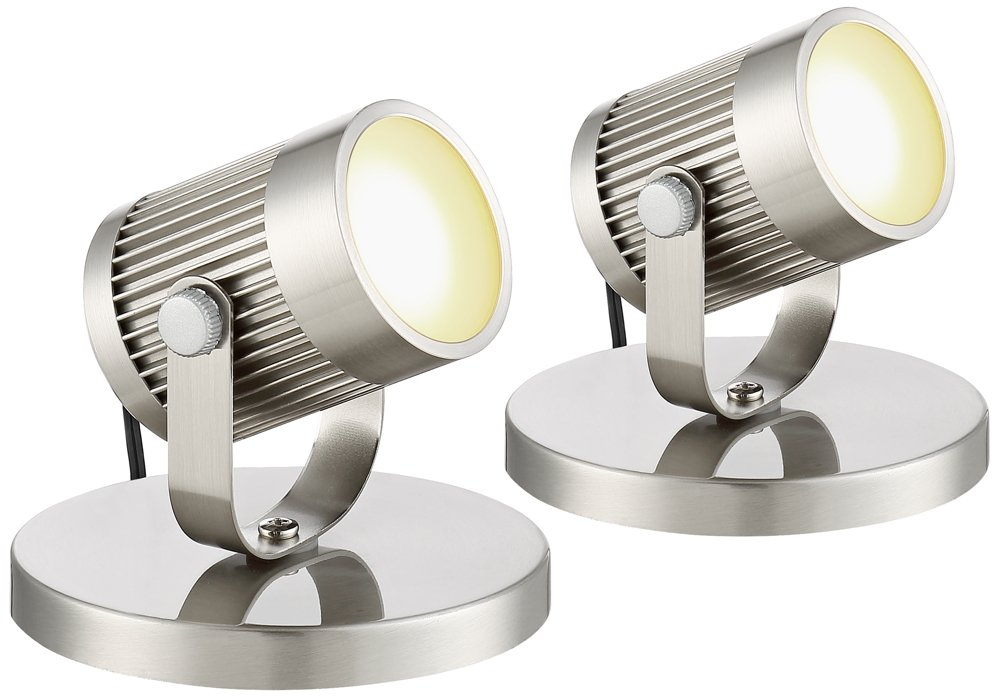 Downey Brushed Steel 2 3/4'' H LED Uplight Set of 2